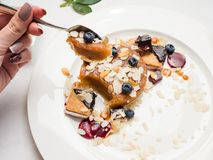 Tasting dessert cakes food confectionery. Concept. delicious sweets. restaurant food Royalty Free Stock Photos