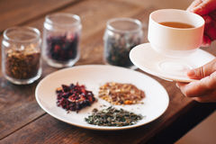 Tasting of different types of tea Stock Photo