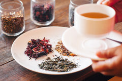 Tasting of different types of tea Stock Photos