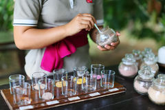 Tasting drinks in Indonesia Royalty Free Stock Photography