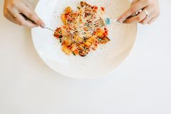 Tasting exotic luxury asian restaurant food Royalty Free Stock Photo