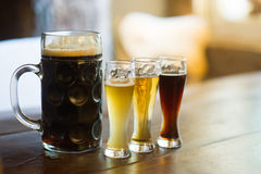 Tasting of many different types of beers. Stock Photo