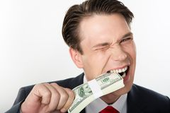 Tasting money Stock Image