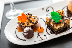 Free Tasting Of Wine And Pattie Chocolate Pastries At The Chocolate. Royalty Free Stock Photo - 43846195