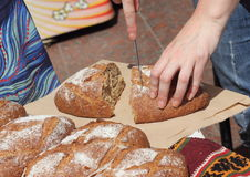 Tasting organic bread Stock Image