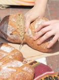 Tasting organic bread Royalty Free Stock Photo