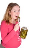 Tasting pickle Stock Photo