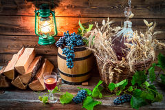 Tasting red wine straight from the demijohn. On old wooden table Stock Photography