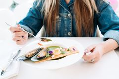 Tasting restaurant healthy seafood. Concept. traditional kitchen. national cuisine. delicious delicacy Stock Photos