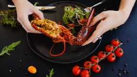 Tasting restaurant stuffed lobster dish Royalty Free Stock Photography