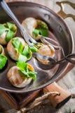 Tasting roasted snails Stock Image