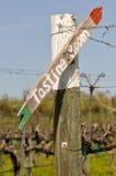 Tasting Room Sign Post. Wine Tasting Room Sign Post in Vineyard Stock Image