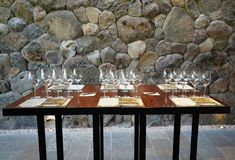 Tasting room in The Stags` Leap Winery cellar in Napa Valley, California Stock Photo