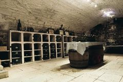 Tasting room in the wine cellar royalty free stock photo
