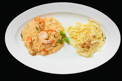 Tasting set of risotto and pasta, isolated Royalty Free Stock Photography