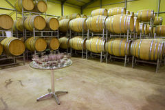 Tasting table with many glasses against rows of tuns Stock Photography