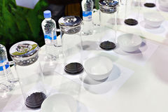Tasting tea at the exhibition Stock Image