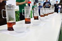 Tasting tea Stock Images