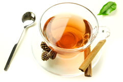 Tasting tisane. A cup of aromatic herbal tisane Royalty Free Stock Photo