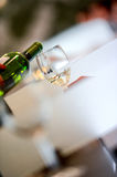 Tasting-White wine pour in a glass Stock Images