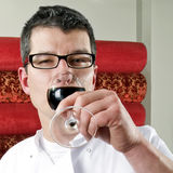 Tasting wine. A wine waiter tasting a glass of wine royalty free stock photo