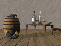 Tasting of wine - 3d render Royalty Free Stock Photos
