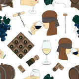 Tasting wine icons pattern Stock Photo