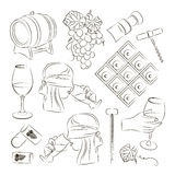 Tasting wine icons Stock Images