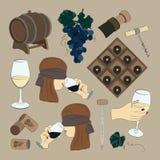 Tasting wine icons Stock Photo