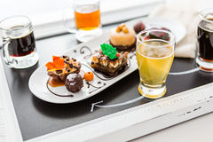 Tasting of wine and pattie chocolate pastries at the chocolate. Stock Image