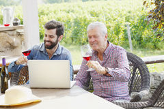 Tasting the wine. Portrait of young and senior men tasting with red wine in a vineyard. Professional winemakers sitting at desk in front of laptop at wine cellar Royalty Free Stock Image