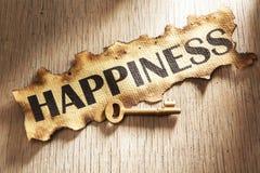 Tasto al concetto di felicità Immagini Stock