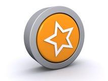 Tasto arancione della stella Fotografia Stock Libera da Diritti