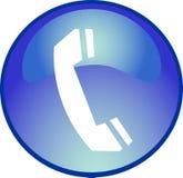 Tasto blu del telefono Fotografia Stock