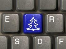 Tasto con l'albero di Natale Fotografia Stock Libera da Diritti