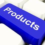 Tasto del computer dei prodotti in blu che mostra le merci di acquisto di Internet Immagine Stock