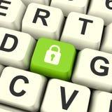 Tasto del computer dell'icona del lucchetto che mostra sicurezza e protezione di sicurezza Immagini Stock