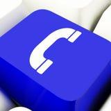 Tasto del computer dell'icona del microtelefono in blu per il servizio d'assistenza o l'assistenza Fotografia Stock Libera da Diritti