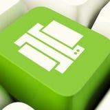 Tasto del computer della stampa nella rappresentazione verde Access ad uno stampato Fotografie Stock