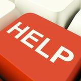 Tasto del computer di aiuto che mostra il supporto e le risposte di assistenza Fotografia Stock