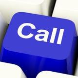 Tasto del computer di chiamata in blu per il servizio d'assistenza o l'assistenza Immagine Stock