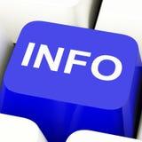Tasto del computer di informazioni nelle informazioni e nel supporto di mostra blu Fotografia Stock