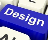 Tasto del computer di progettazione che significa materiale illustrativo creativo online Fotografia Stock Libera da Diritti