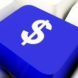 Tasto del computer di simbolo del dollaro in soldi di mostra blu o nell'investimento Immagini Stock