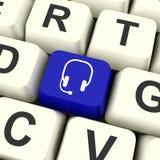 Tasto del computer di simbolo della cuffia avricolare che mostra comunicazione ed asino online Immagini Stock