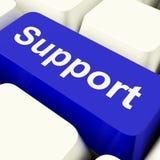 Tasto del computer di sostegno nell'aiuto e nell'assistenza blu di rappresentazione Immagine Stock