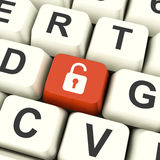Tasto del computer sbloccato del lucchetto nella rappresentazione rossa Access o Protectio Fotografia Stock