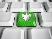Tasto del computer verde con l'icona dello schermo Fotografia Stock Libera da Diritti