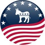 Tasto del Democrat - bandierina d'ondeggiamento Immagini Stock