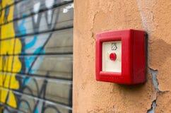 Tasto del segnalatore d'incendio di incendio Fotografia Stock